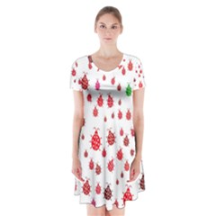 Beetle Animals Red Green Fly Short Sleeve V-neck Flare Dress by Amaryn4rt