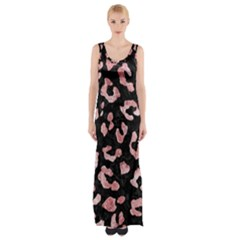 Skin5 Black Marble & Red & White Marble (r) Maxi Thigh Split Dress by trendistuff