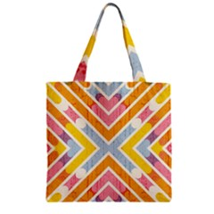 Line Pattern Cross Print Repeat Zipper Grocery Tote Bag by Amaryn4rt