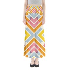 Line Pattern Cross Print Repeat Maxi Skirts by Amaryn4rt