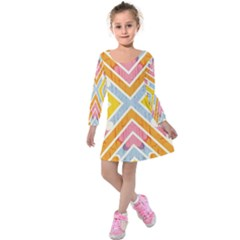 Line Pattern Cross Print Repeat Kids  Long Sleeve Velvet Dress by Amaryn4rt