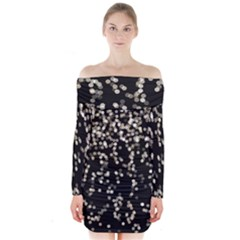 Christmas Bokeh Lights Background Long Sleeve Off Shoulder Dress by Amaryn4rt