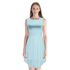 Stripes Striped Turquoise Sleeveless Chiffon Dress