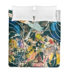 Art Graffiti Abstract Vintage Lines Duvet Cover Double Side (Full/ Double Size) by Amaryn4rt