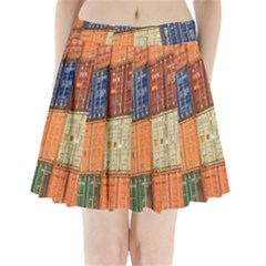 Blue White Orange And Brown Container Van Pleated Mini Skirt