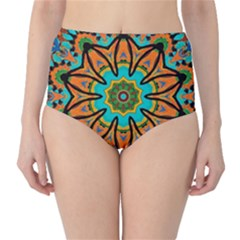 Color Abstract Pattern Structure High Waist Bikini Bottoms