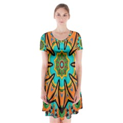 Color Abstract Pattern Structure Short Sleeve V Neck Flare Dress by Amaryn4rt