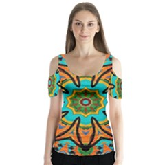 Color Abstract Pattern Structure Butterfly Sleeve Cutout Tee