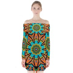 Color Abstract Pattern Structure Long Sleeve Off Shoulder Dress by Amaryn4rt
