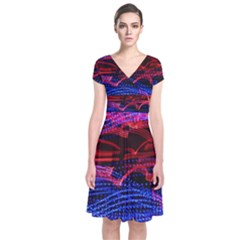Lights Abstract Curves Long Exposure Short Sleeve Front Wrap Dress by Amaryn4rt