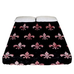 Royal1 Black Marble & Red & White Marble (r) Fitted Sheet (california King Size) by trendistuff