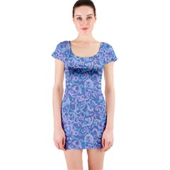 Psychedelic Purple Pop Art Plain Purple Short Sleeve Bodycon Dress by WarduckDesign