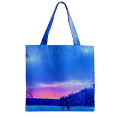 Winter Landscape Snow Forest Trees Zipper Grocery Tote Bag by Amaryn4rt