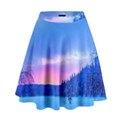 Winter Landscape Snow Forest Trees High Waist Skirt by Amaryn4rt