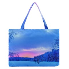 Winter Landscape Snow Forest Trees Medium Zipper Tote Bag by Amaryn4rt