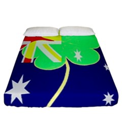 St  Patrick Australia And Ireland Irish Shamrock Australian Country Flag  Fitted Sheet (california King Size) by yoursparklingshop