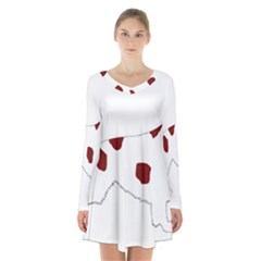 Irish Red White Setter Silo Color Long Sleeve Velvet V-neck Dress