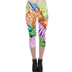 Zebra Colorful Abstract Collage Capri Leggings