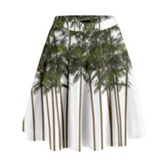 Bamboo Plant Wellness Digital Art High Waist Skirt by Amaryn4rt