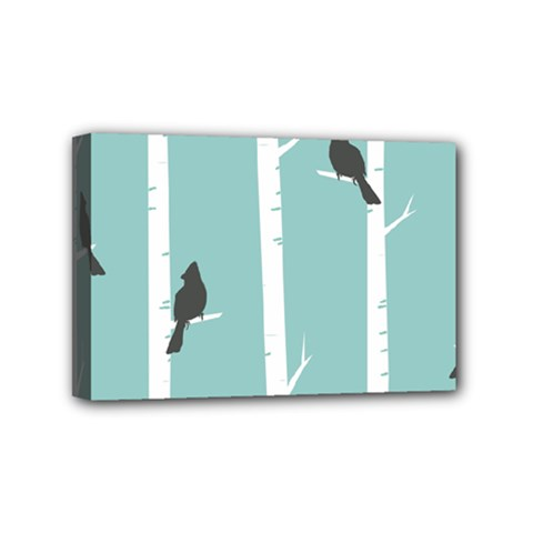 Birds Trees Birch Birch Trees Mini Canvas 6  X 4  by Amaryn4rt