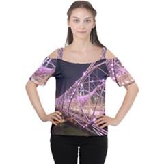Helixbridge Bridge Lights Night Women s Cutout Shoulder Tee by Amaryn4rt