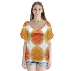 Orange Discs Orange Slices Fruit Flutter Sleeve Top