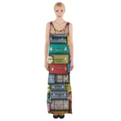 Colored Suitcases Maxi Thigh Split Dress by AnjaniArt