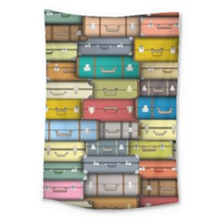 Colored Suitcases Large Tapestry by AnjaniArt