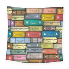 Colored Suitcases Square Tapestry (large) by AnjaniArt