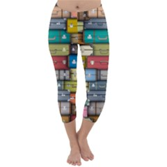 Colored Suitcases Capri Winter Leggings  by AnjaniArt