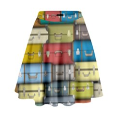 Colored Suitcases High Waist Skirt by AnjaniArt
