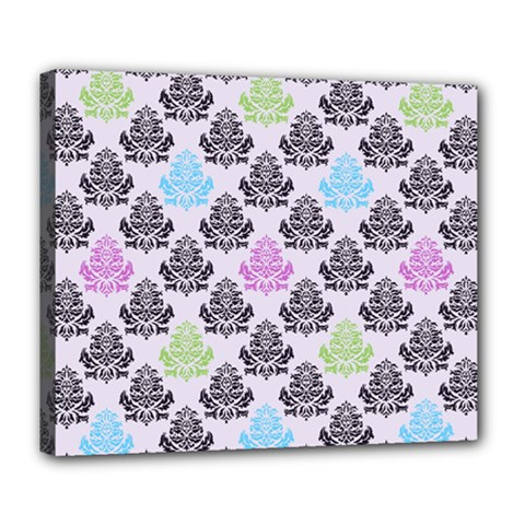 Damask Small Flower Purple Green Blue Black Floral Deluxe Canvas 24  X 20   by AnjaniArt