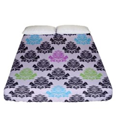 Damask Small Flower Purple Green Blue Black Floral Fitted Sheet (queen Size) by AnjaniArt