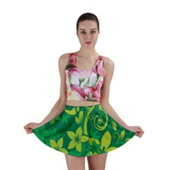 Flower Yellow Green Mini Skirt by AnjaniArt