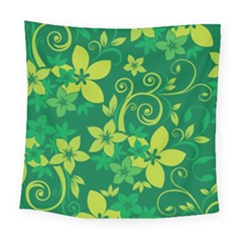Flower Yellow Green Square Tapestry (large)