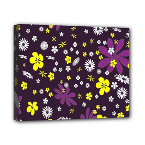 Floral Purple Flower Yellow Canvas 10  X 8  by AnjaniArt