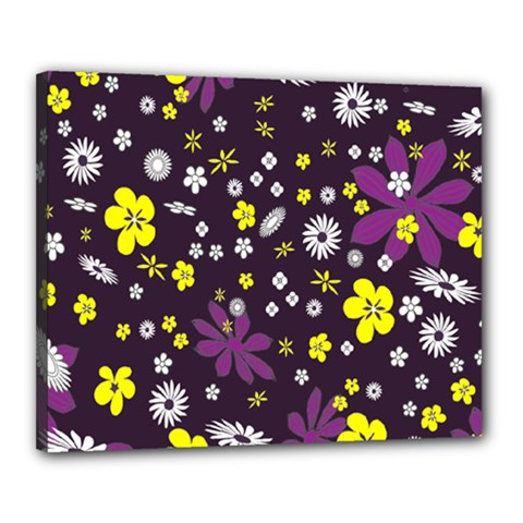 Floral Purple Flower Yellow Canvas 20  X 16  by AnjaniArt