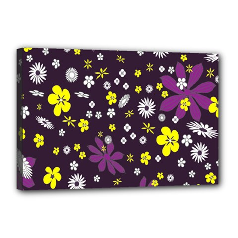 Floral Purple Flower Yellow Canvas 18  X 12  by AnjaniArt