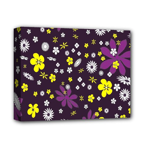 Floral Purple Flower Yellow Deluxe Canvas 14  X 11  by AnjaniArt
