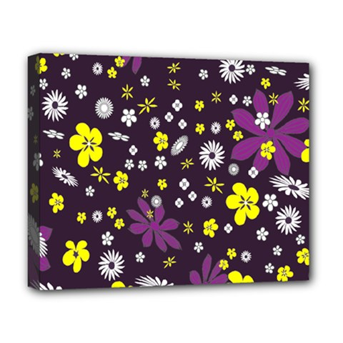 Floral Purple Flower Yellow Deluxe Canvas 20  X 16   by AnjaniArt
