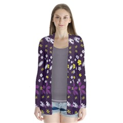Floral Purple Flower Yellow Cardigans by AnjaniArt