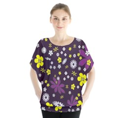 Floral Purple Flower Yellow Blouse by AnjaniArt