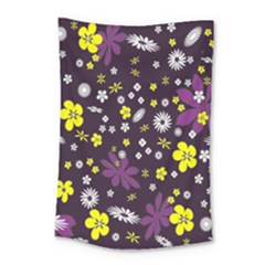 Floral Purple Flower Yellow Small Tapestry by AnjaniArt