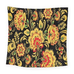 Flower Yellow Green Red Square Tapestry (large) by AnjaniArt