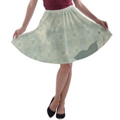 Shadow Flower Gray A-line Skater Skirt by AnjaniArt