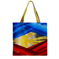 Blue Red Yellow Colors Zipper Grocery Tote Bag by Jojostore