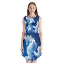 Blue Sky Clouds Sleeveless Chiffon Dress   by Jojostore