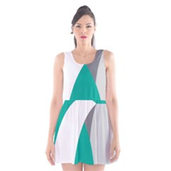 Chevron Green Gray White Scoop Neck Skater Dress by Jojostore