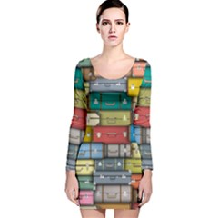 Colored Suitcases Long Sleeve Velvet Bodycon Dress by Jojostore