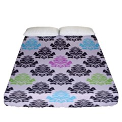 Damask Small Flower Purple Green Blue Black Floral Fitted Sheet (king Size) by Jojostore